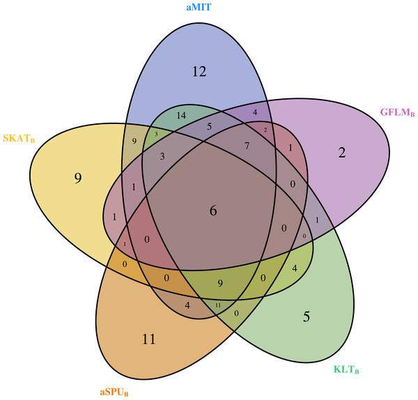 The Venn diagram of the counts of genes found significant with p-value less than 0.05 for five tests from 202 funtional genes.
