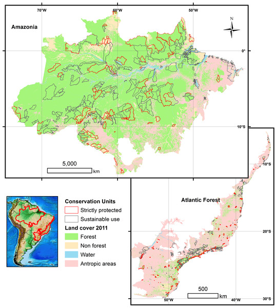 Land cover across the Brazilian Amazon and the Brazilian Atlantic Forest biomes, and their respective 788 forest reserves.