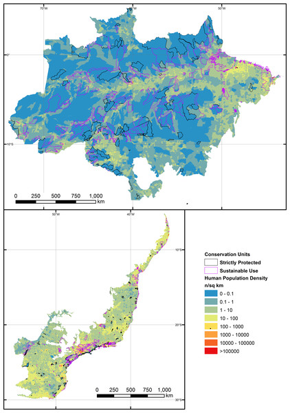 Human population density (HPD) gradient at the scale of sub-municipal census districts across the entire Brazilian Amazon and the Brazilian Atlantic Forest, overlapping the boundaries of the 788 forest reserves examined in this study.