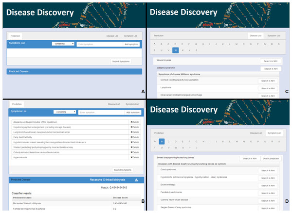 The web interface for Rare Disease Discovery.