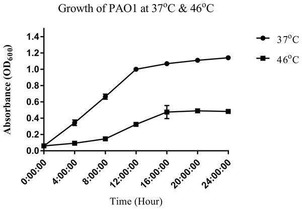 Growth curve of P. aeruginosa PAO1 incubated at 37 °C (circle) and 46 °C (square).