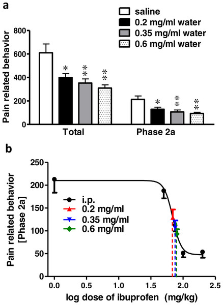 Effect of different concentrations of ibuprofen administered in drinking water on formalin-induced pain-related behavior in mice and equivalent i.p. doses.