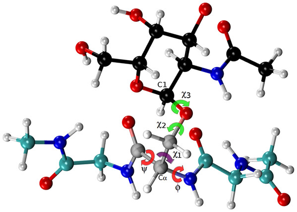 """Ball and stick representation of a glycan-amino acidic residue, namely for α-D-GalpNAc- (1-O)-Ser with """"1"""" representing C1 of the glycan, and """"O"""" representing the oxygen of the side-chain of Ser in an Ac-Gly-Ser-Gly-Nme tripeptide, in an arbitrary conformation."""