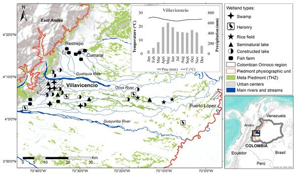 Localization of lentic wetlands at the Meta Piedmont in Colombian Andean–Orinoco region.