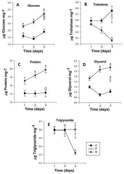 Mean (±s.e) (A) Glucose, (B) Trehalose, (C) Protein, (D) glycerol and (E) Triglyceride content of Myzus persicae during repeated (R1, R2, R3), prolonged (P) and control state (C1, C2, C3).