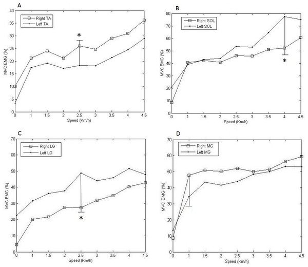 Comparisons of means and standard deviations of MVC EMG of all subjects during the dynamic steady state.
