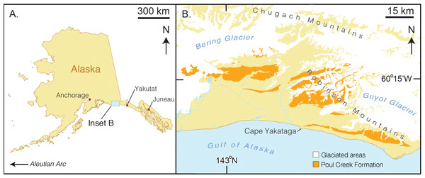 Map of type locality for Arktocara yakataga (USNM 214830).