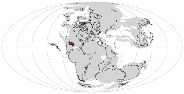 Distribution of Rauisuchidae across Pangea during the Late Triassic with each star marking a locality where rauisuchid material has been confirmed (25 stars present in the southwestern United States; generated from http://fossilworks.org/).