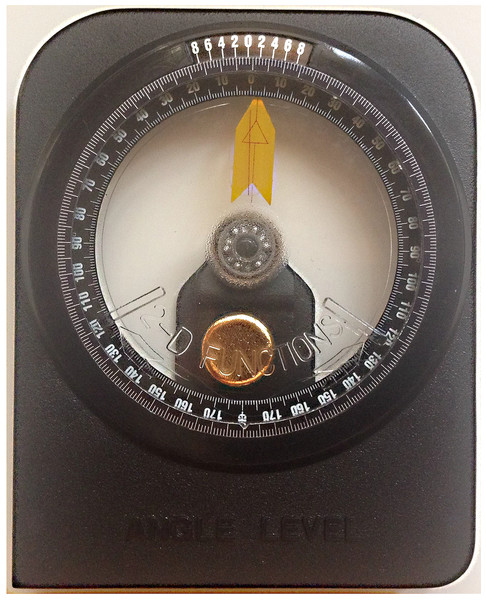 Standard gravity-based inclinometer (model A-300; Vertex Co).