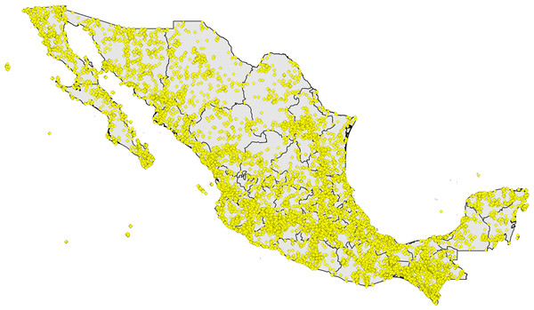 Digital accessible knowledge of bird distributions (481,409 unique combinations of species × place × time) across Mexico prior to 1980, drawn from GBIF, VertNet, REMIB, and UNIBIO (records are not coded by source owing to frequent overlaps among sources in serving copies of the same record).