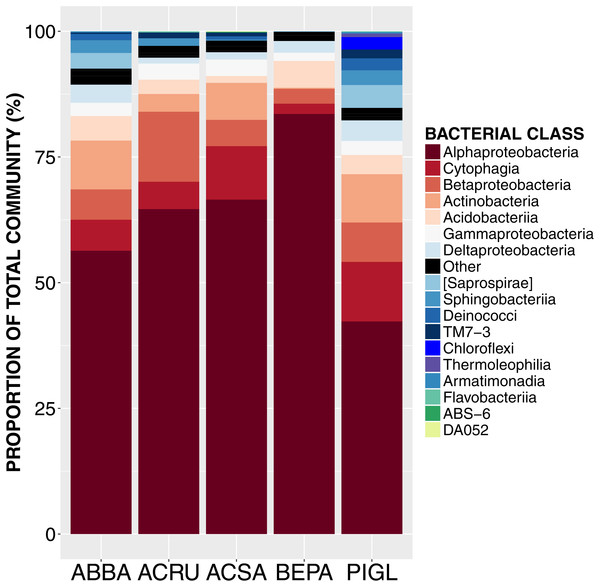 Relative abundance of sequences from bacterial taxonomic classes in the phyllosphere microbiome of temperate tree species in Quebec temperate forest.
