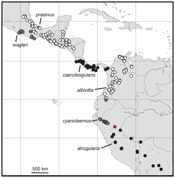"Distributions of the specimens of Aulacorhynchus ""prasinus"" examined in this study with the focal six major subspecific groups labeled."