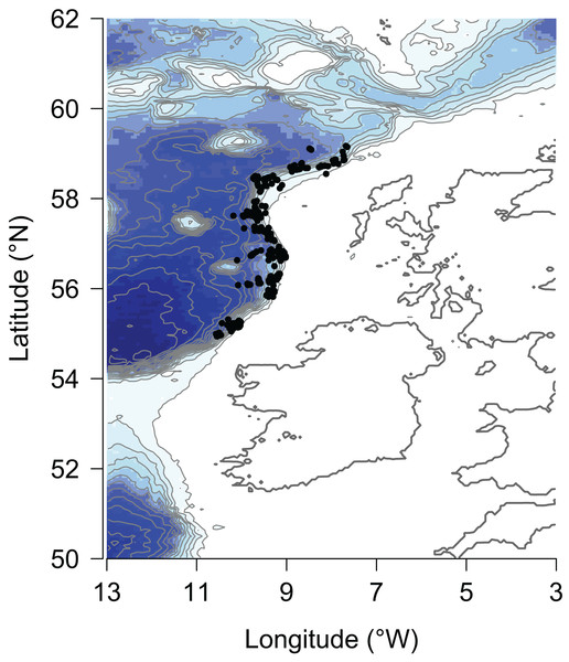Location of hauls of the Marine Scotland deep-water bottom trawl survey along the continental slope of the Rockall Trough from 1998–2013.
