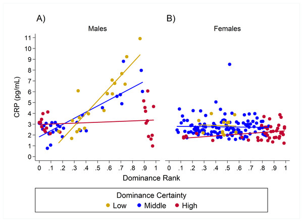 Sex differences in the impact of dominance certainty and rank on CRP.