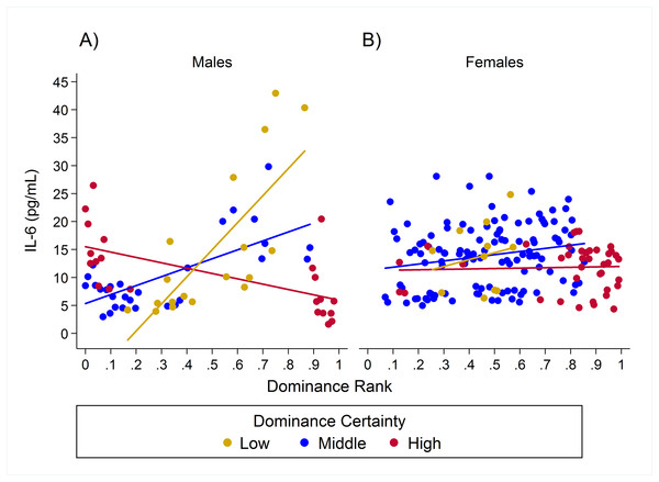 Sex differences in the impact of dominance certainty and rank on inflammation based on serum levels of interleukin-6 (IL-6).