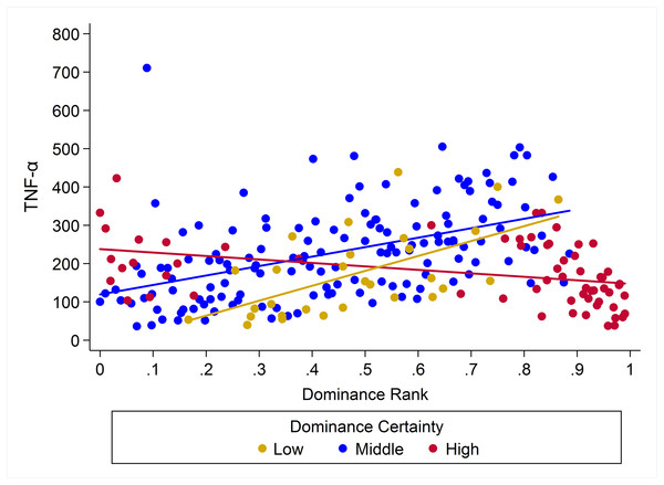 Dominance certainty moderates the effect of rank on TNF-α.
