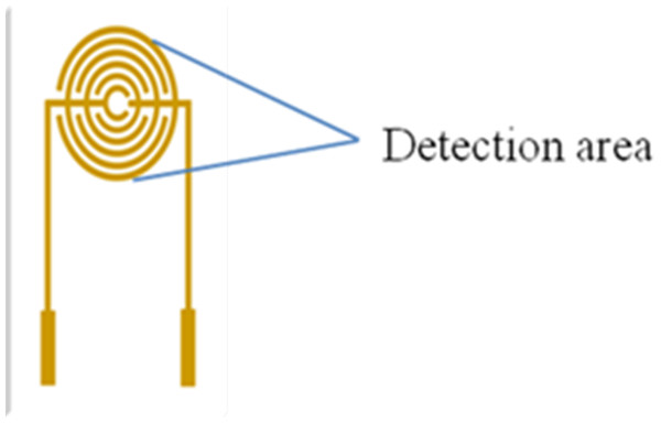 Detection area (droplets area) of the electrode.