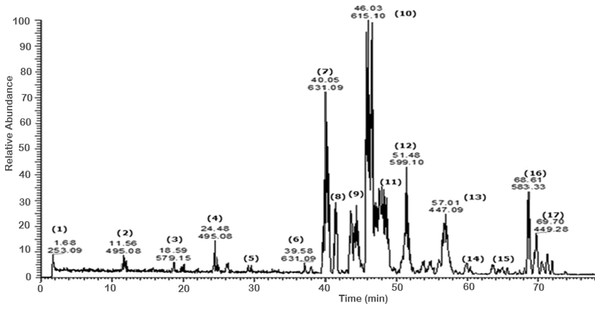 Negative LC/ESI/mass spectrum of phenolics from hydro-alcoholic extract of Schotia brachypetalea.