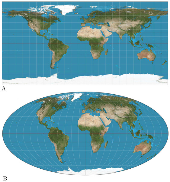 (A) Equirectangular projection, (B) Mollweide projection.