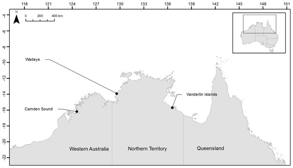 Location of the three sampling sites across northern Australia.