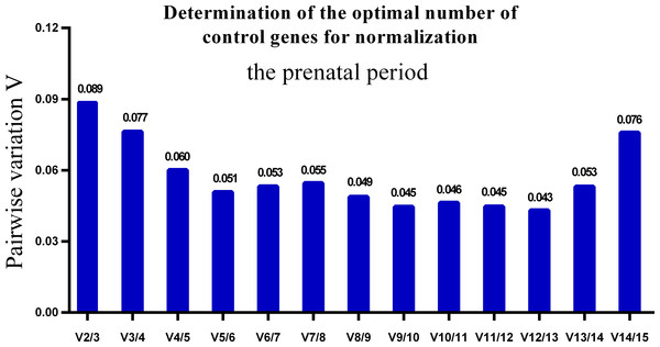 Determination of the optimal number of reference genes for normalization in prenatal periods.