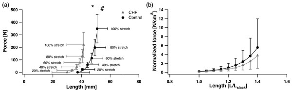 Soleus passive force-length (F-L) relationship (A) and passive F-L relationship normalized by individual PCSA and Lslack (B).