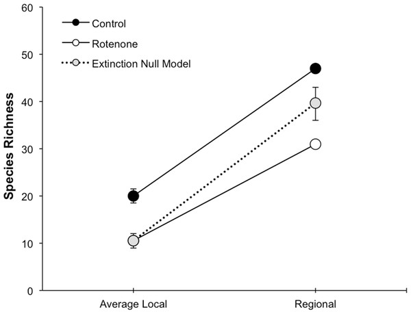 Species loss at local and regional spatial scales.