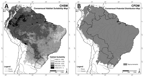(A) Consensual Habitat Suitability Map, CHSM; (B) Consensual Potential Distribution Map, CPDM (suitable/unsuitable), based on the Minimum Training Presence cutoff criteria (MTP = 0.06).