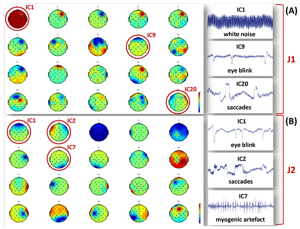 Examples of artefactual ICs separated from the EEG recordings of J1 and J2.