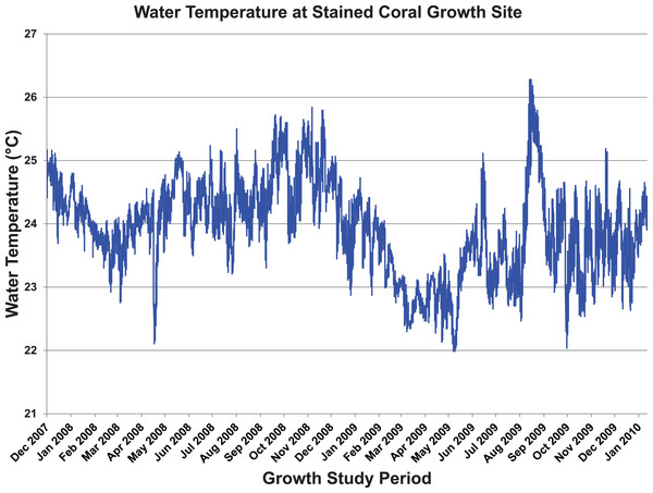 Temperature log from stained coral.