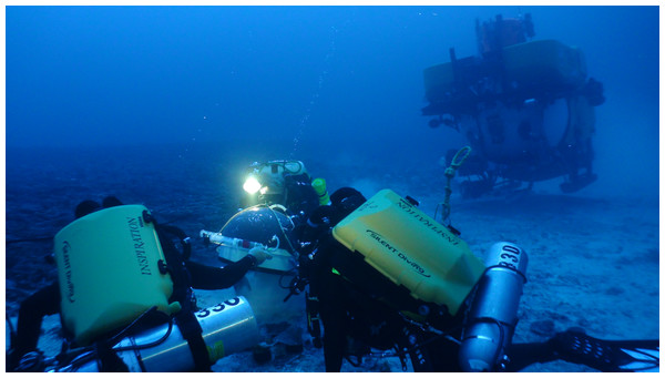 Research divers place a dome over a set of corals 89 m deep.