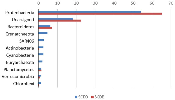 Phylogenetic composition (phyla) of the two metagenomes, SCD0 and SCDE (in percentage).