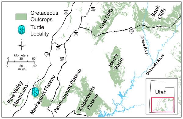 Simplified map of southwestern Utah.