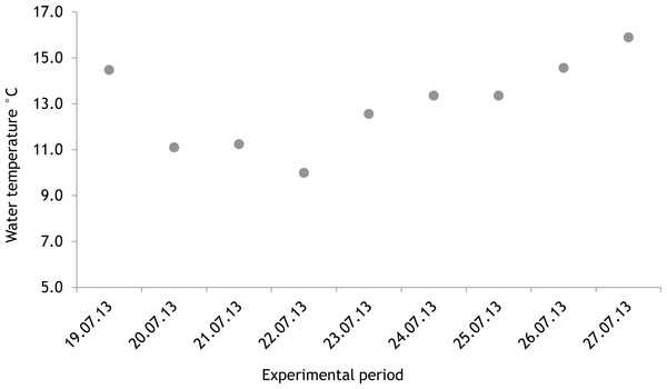 Temporal variation of water temperature during experimental period: 19 July 2013–27 July 2013 (continuous recordings).