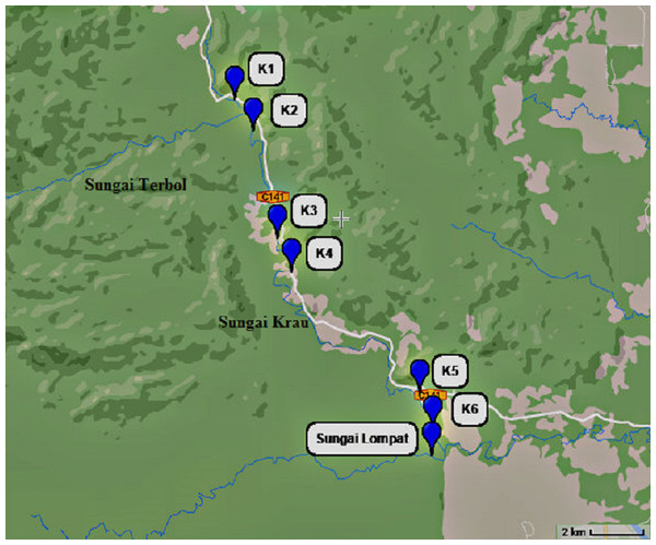 Map showing each six river sampling point at Sungai Krau and a point at Sungai Lompat.