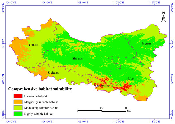 Habitat suitability comprehensive distribution of S. sphenanthera in Qinling area.