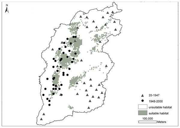 Distribution probability map of brown eared-pheasant was predicted by the MaxEnt model.
