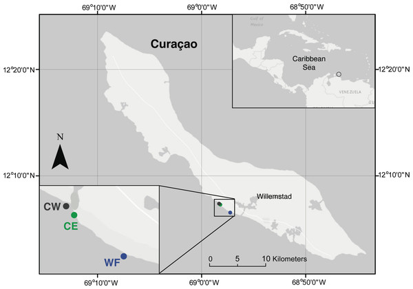 Map of the island of Curaçao.