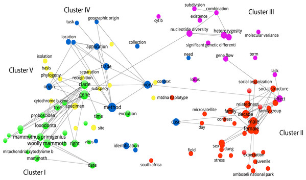 Network analysis of research clusters based on text corpus.