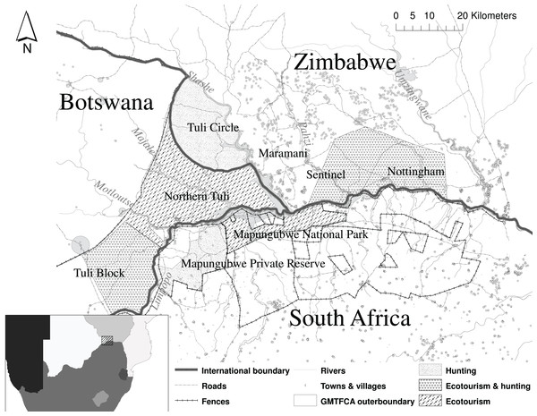 The Greater Mapungubwe Transfrontier conservation area and surrounding areas illustrating the borders between the three countries and the different sites within the countries used in the analysis.