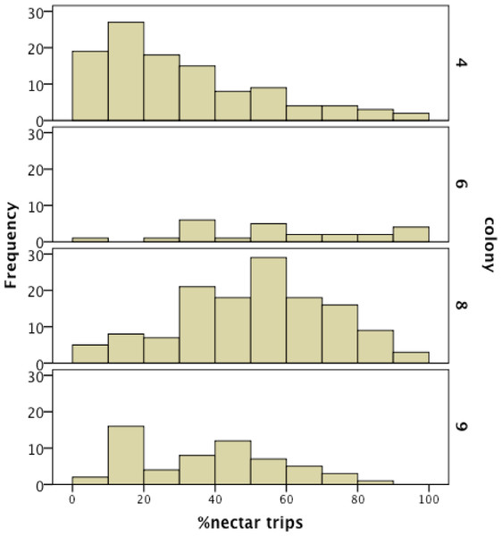 Frequency histogram of the number of individuals (y axis) in each colony with a given total percentage of nectar observations.