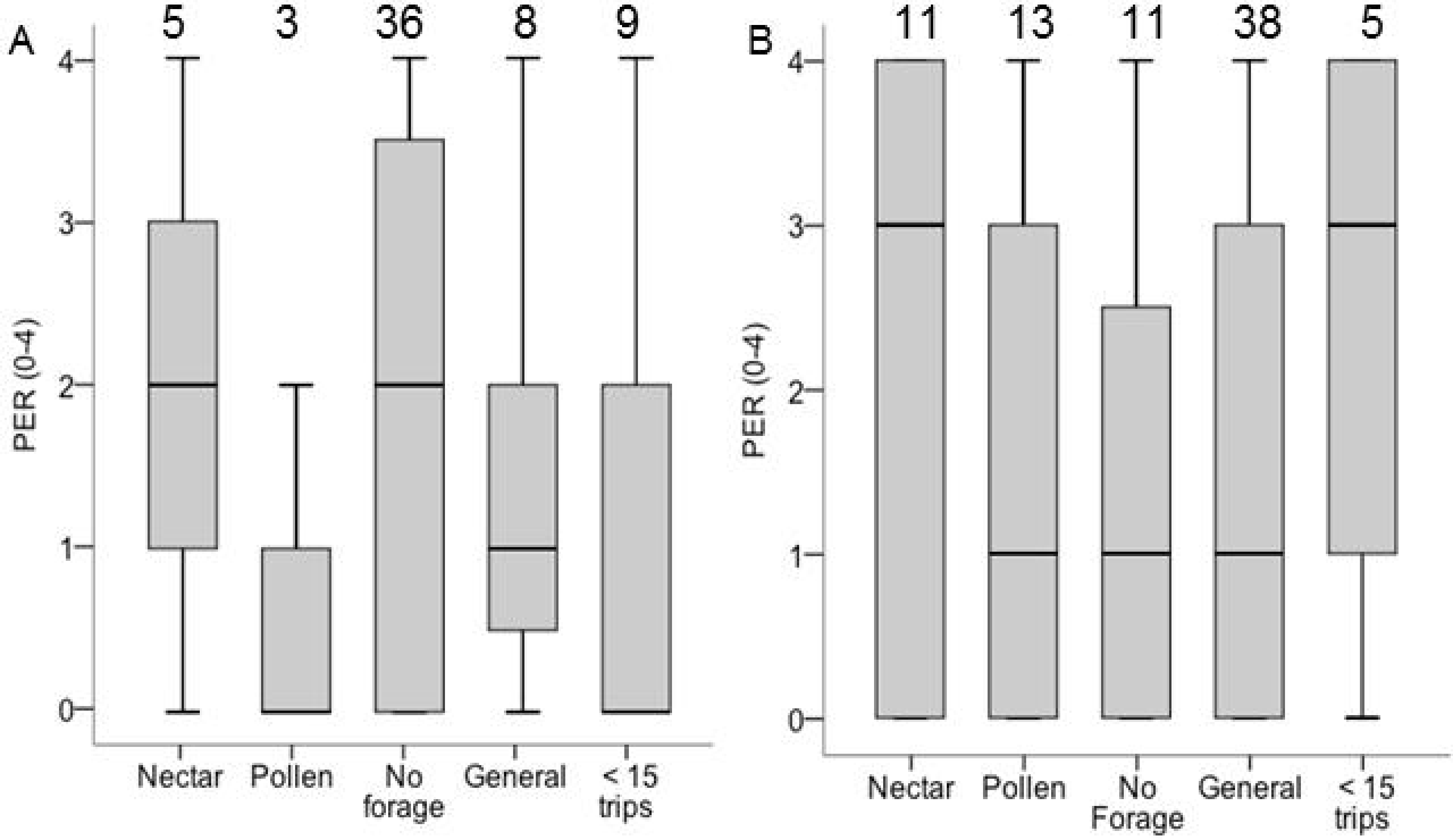Specialization on pollen or nectar in bumblebee foragers is