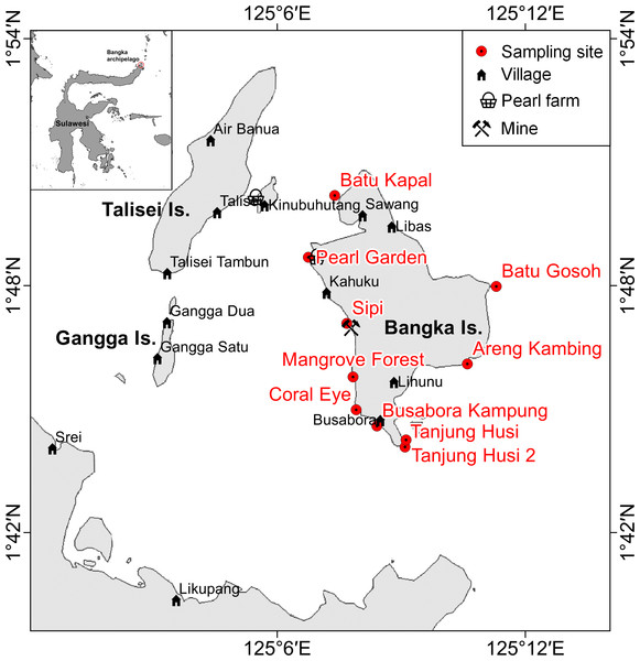 Sketch map of Bangka archipelago (north Sulawesi).