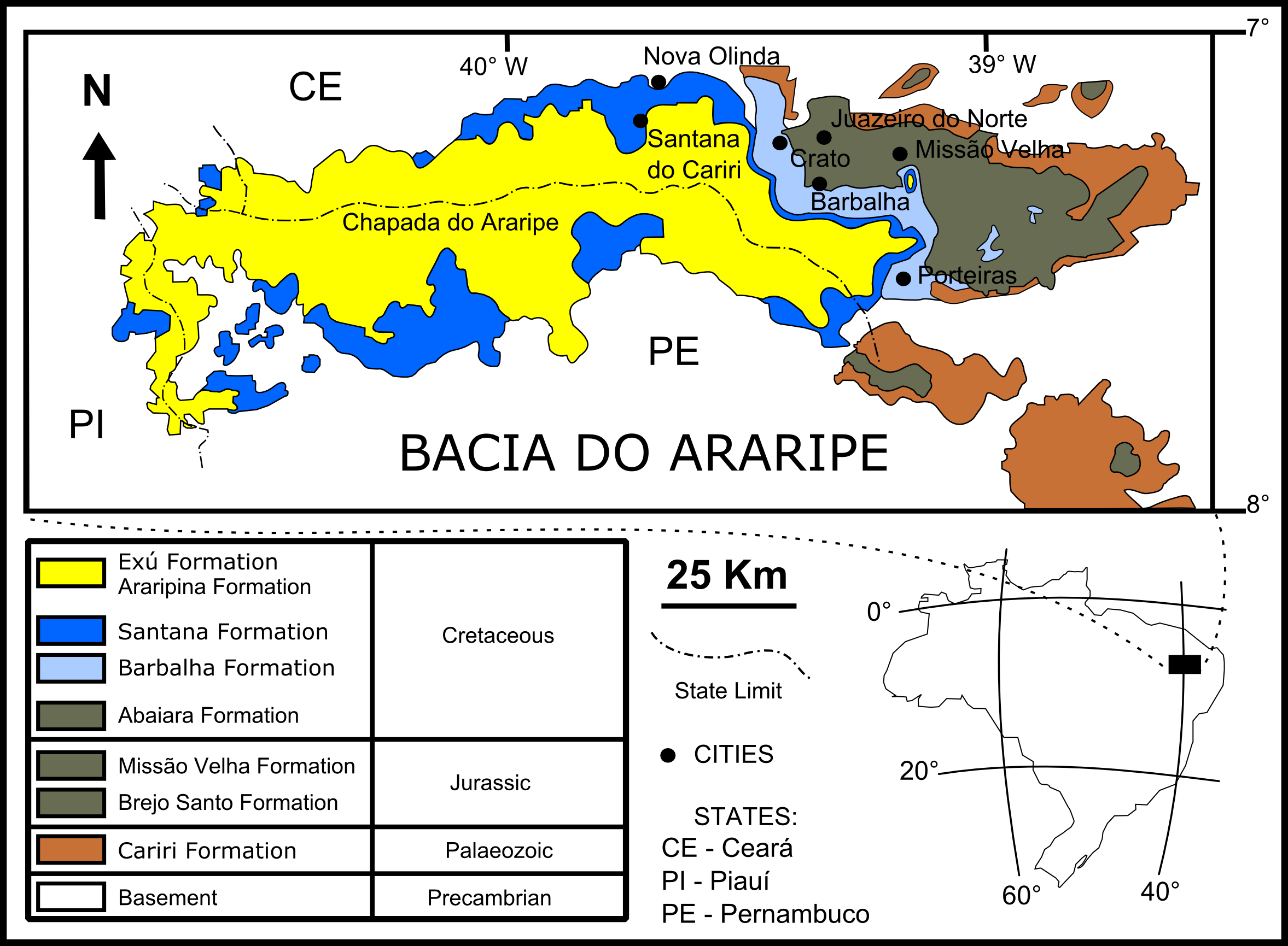 Deciphering The Preservation Of Fossil Insects A Case Study From - Crato map