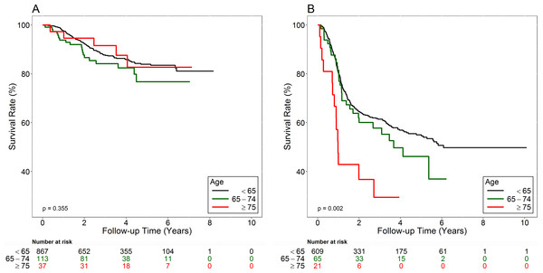 Overall survival curves of early-stage (A) and advanced-stage (B) patients.