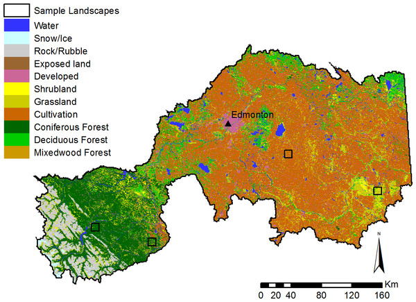 Major landcover types in the North Saskatchewan watershed region of Alberta, Canada.