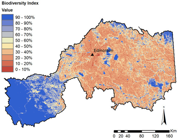 Modelled biodiversity index under current (2010) landcover conditions.