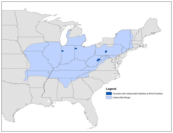 Map of known Indiana bat fatalities.
