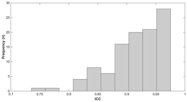 Frequency histogram of the ICC.