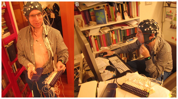 Writer showing the neurophysiological sensors (A) and during writing (B).